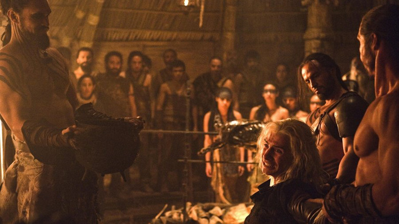 Jason Momoa and Harry Lloyd in Game of Thrones