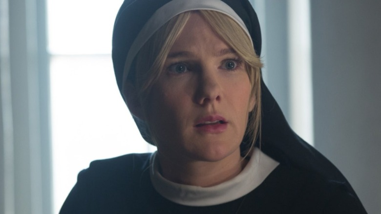 Sister Mary Eunice looking alarmed