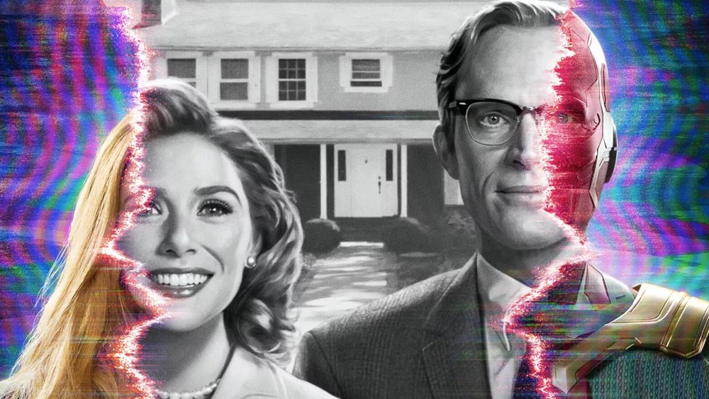 Elizabeth Olsen and Paul Bettany dissolving into alternate realities in WandaVision poster