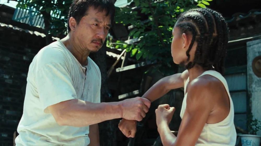 Mr. Han teaching Dre Kung Fu