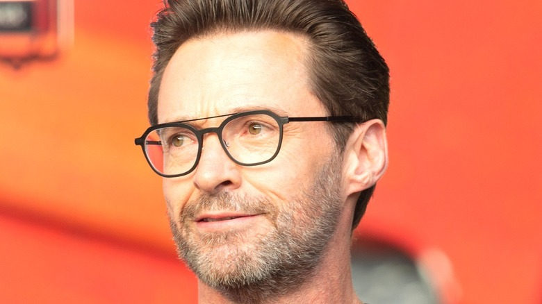Hugh Jackman wearing glasses