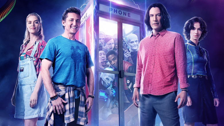 Samara Weaving, Alex Winter, Keanu Reeves, and Brigette Lundy-Paine in Bill & Ted Face the Music