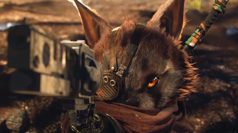 Biomutant cat holding gun