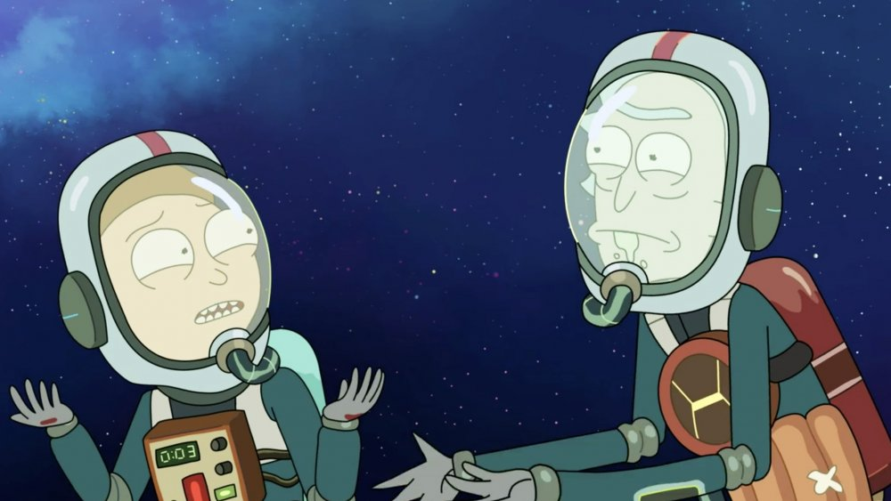 """Morty and Rick on Rick and Morty season 4, episode 6, """"Never Ricking Morty"""""""