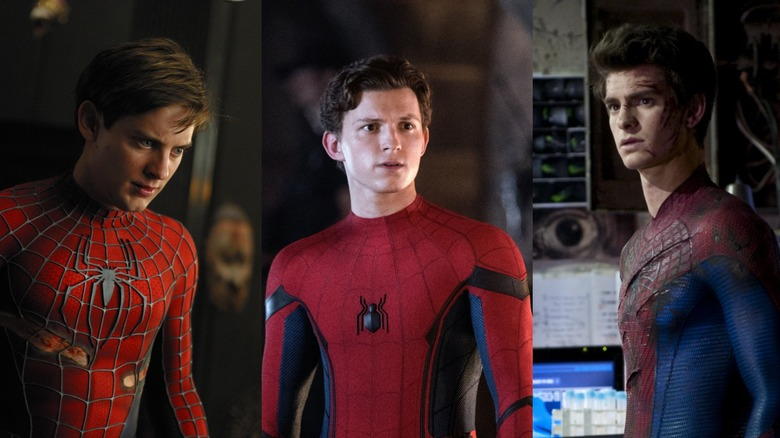 Tom Holland, Andrew Garfield, and Tobey Maguire as Spider-Man