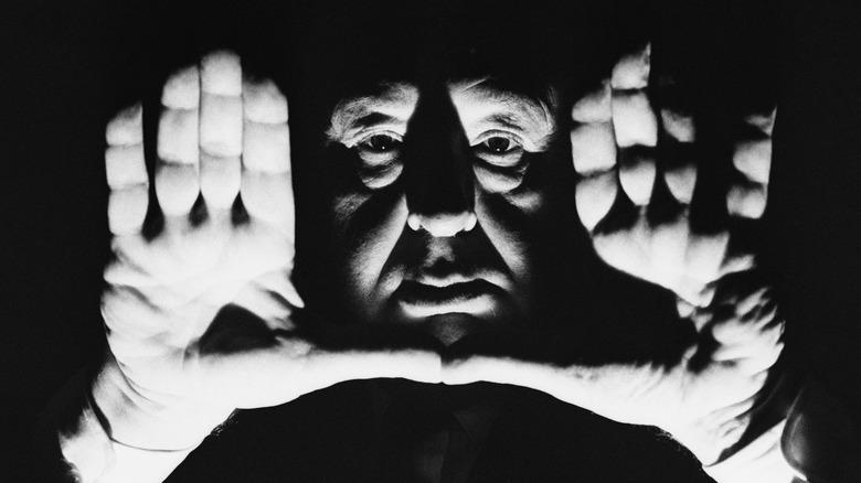 Alfred Hitchcock framing a shot