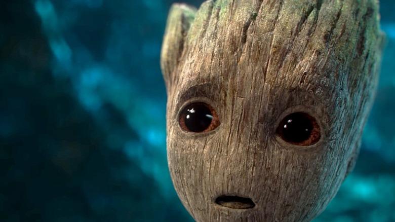 Baby Groot in awe