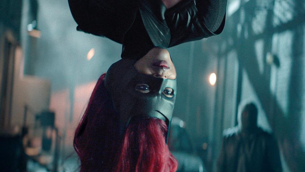 Batwoman hanging upside down