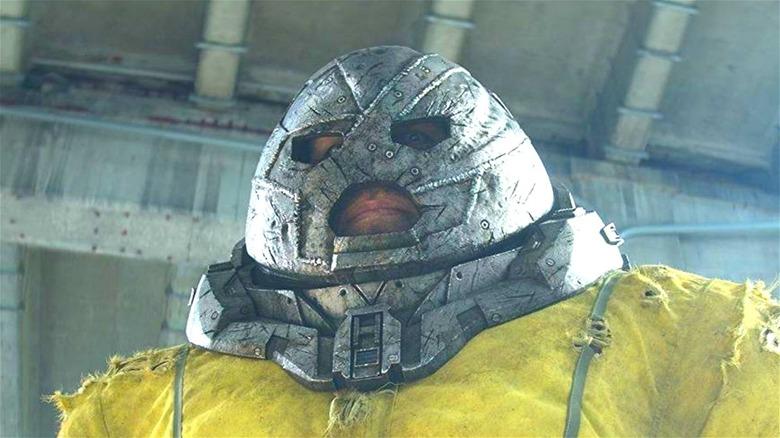 Juggernaut wearing a prison jumpsuit