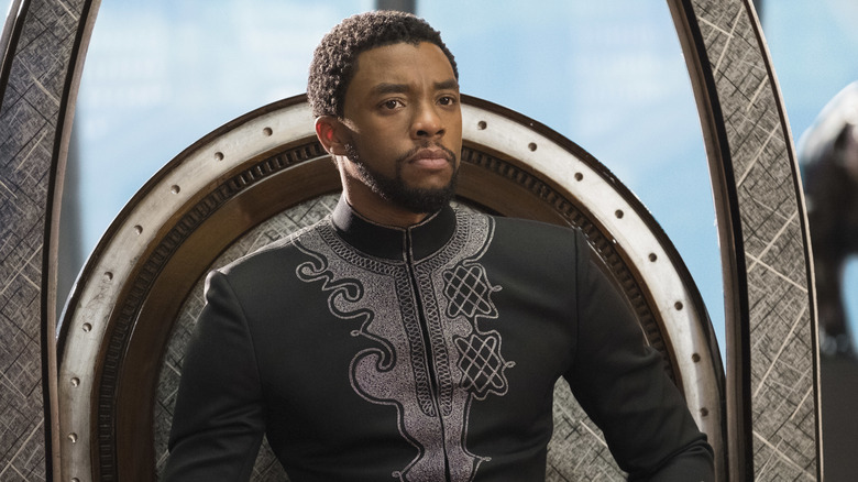 Chadwick Boseman and King T'Challa in Black Panther