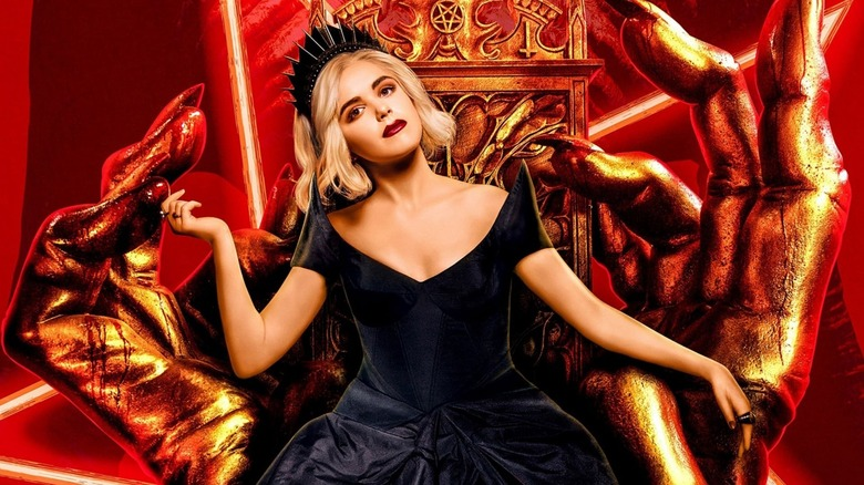 Sabrina Morningstar sits on throne in hell on Chilling Adventures of Sabrina
