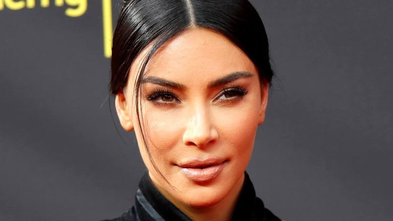 Kim Kardashian smiles