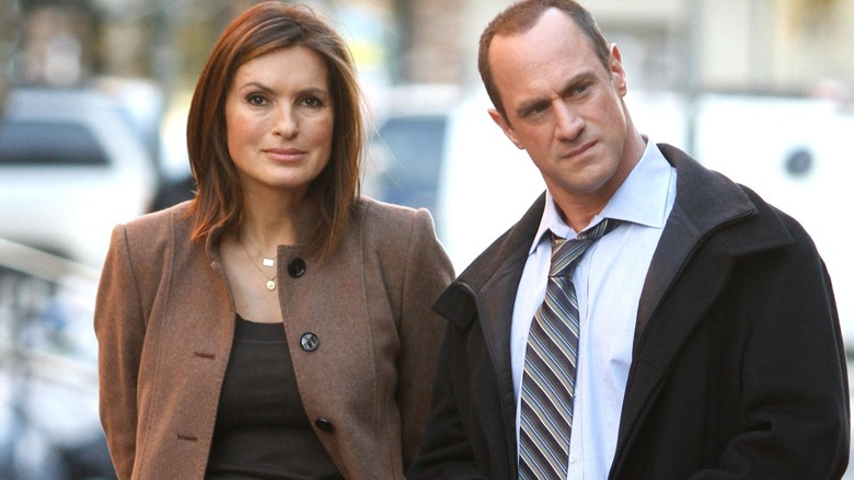Mariska Hargitay and Christopher Meloni as Detectives Olivia Benson and Elliot Stabler in Law and Order: Special Victims Unit