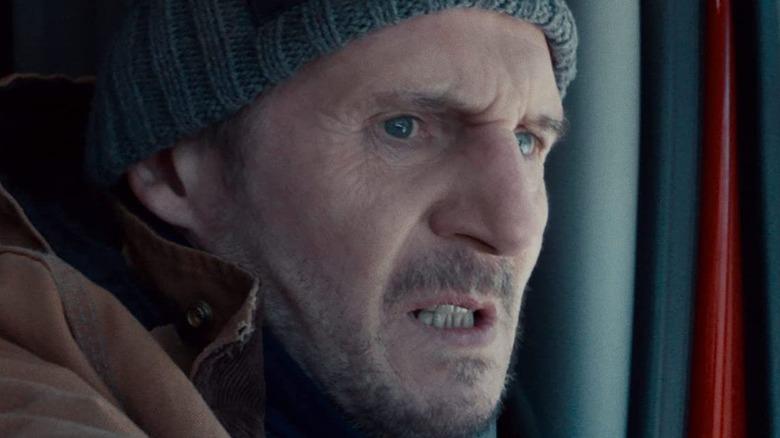 Liam Neeson Mike driving gritting teeth