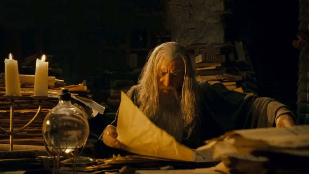 Gandalf busily studies ancient Middle-earth history