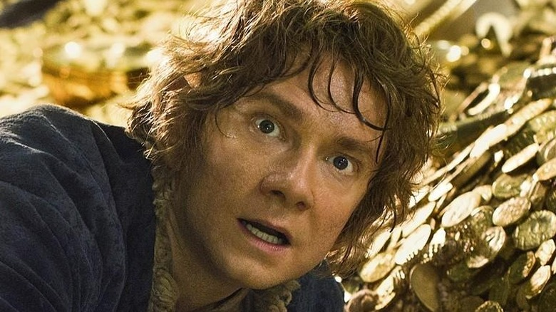 Bilbo in a pit of gold