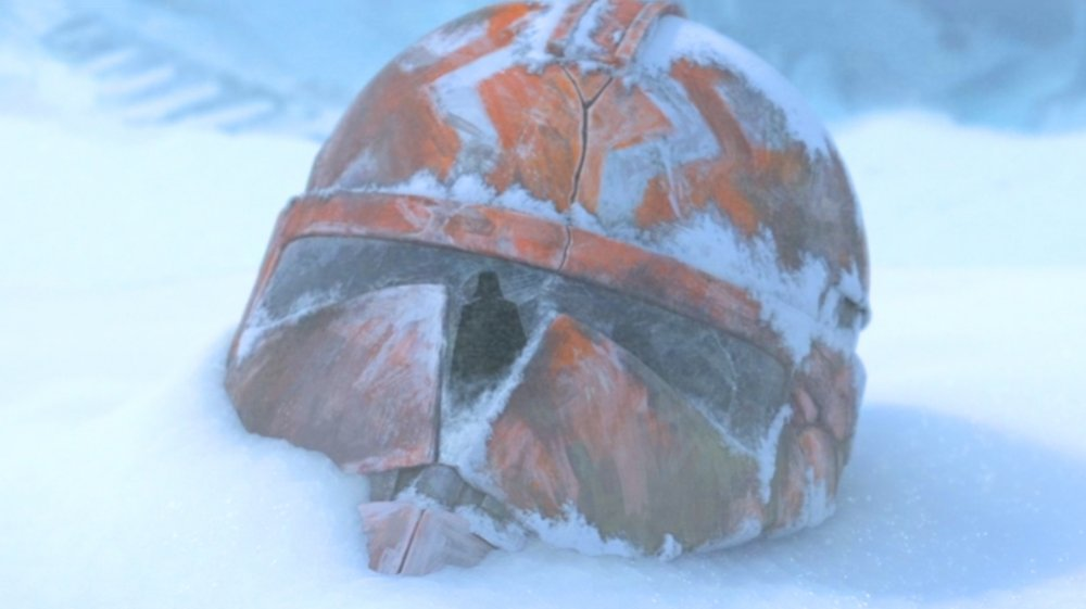 An abandoned clone trooper helmet from the final episode of The Clone Wars