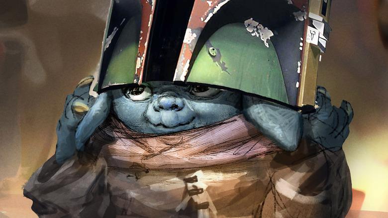 Grogu wears a Mandalorian helmet