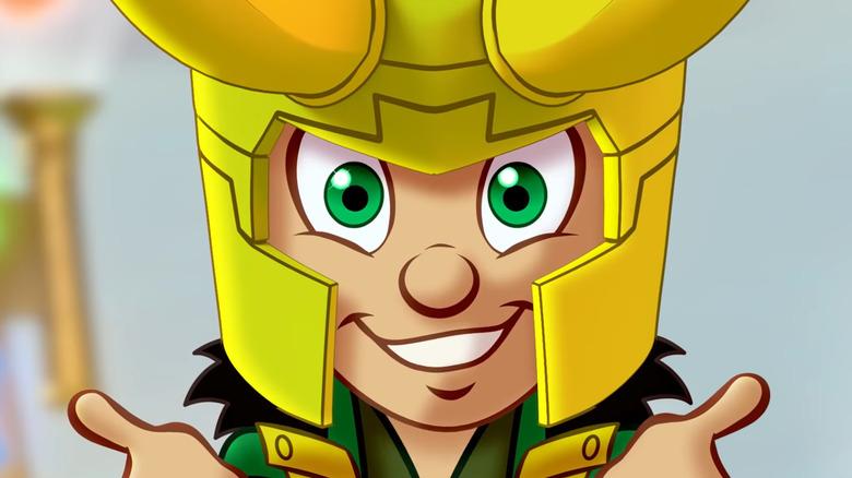 cartoon verison of Loki smiling