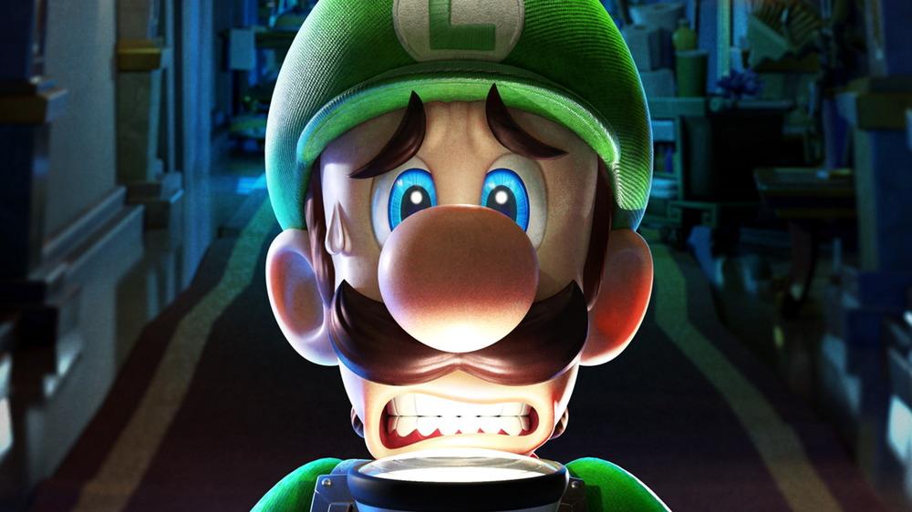 Frightened Luigi with flashlight