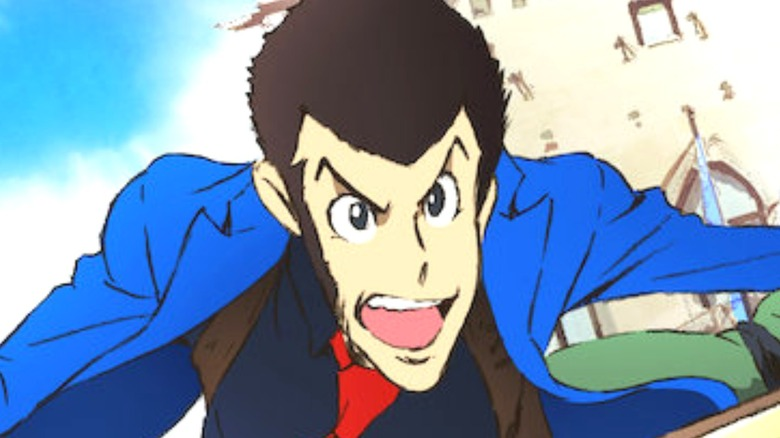 Lupin III running in his blue jacket