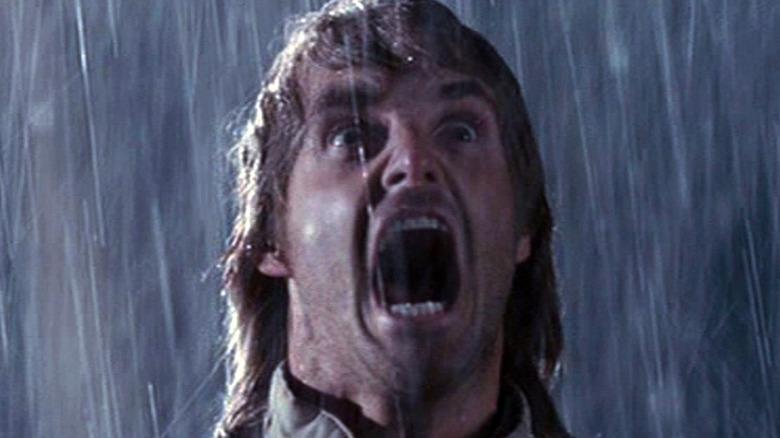 MacGruber screams in the rain