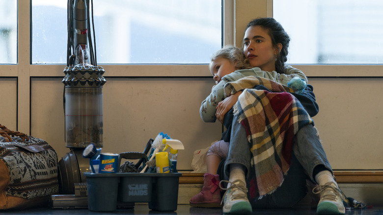 Margaret Qualley and young girl in Maid