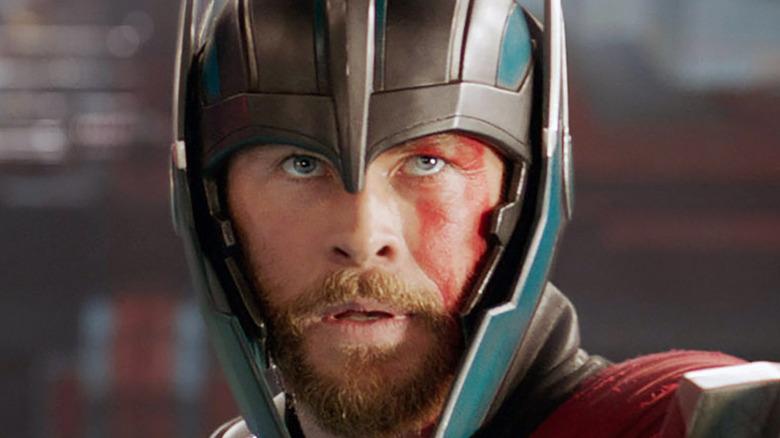 Chris Hemsworth Thor helmet face paint