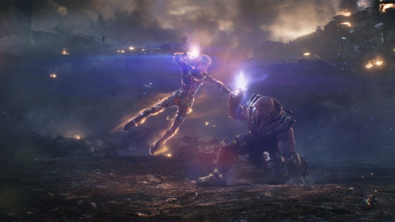 Captain Marvel fights Thanos