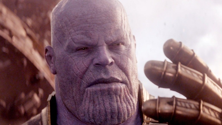 Thanos with the Infinity Gauntlet.