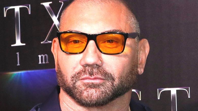 Dave Bautista in orange sunglasses