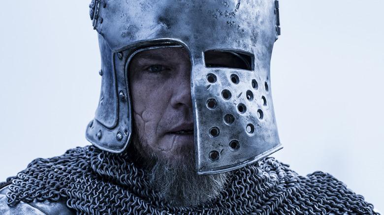 Matt Damon wearing jousting armor helmet The Last Duel