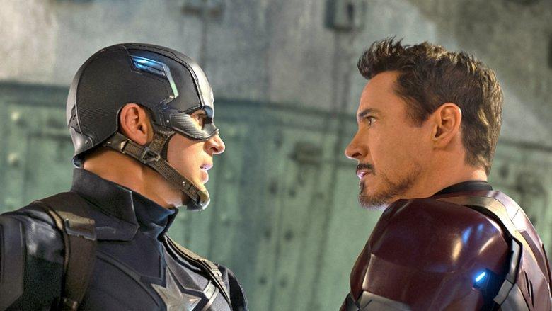 Chris Evans and Robert Downey Jr. in Captain America: Civil War