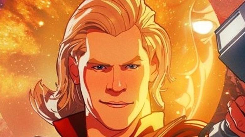 Party Thor holding Mjolnir