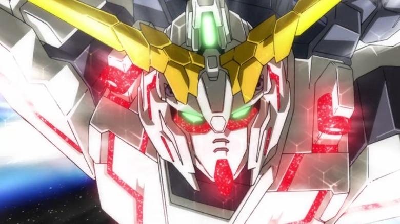Gundam flying through space