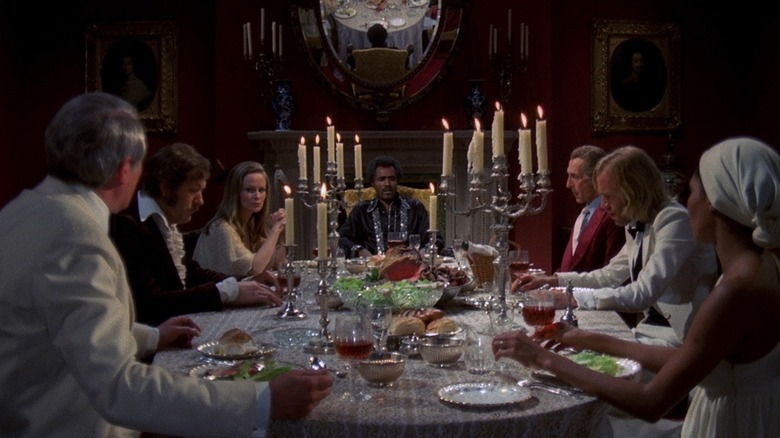 Guests gathered at a dinner table