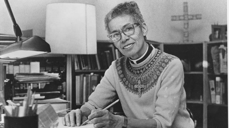An older photo of Pauli Murray at their desk