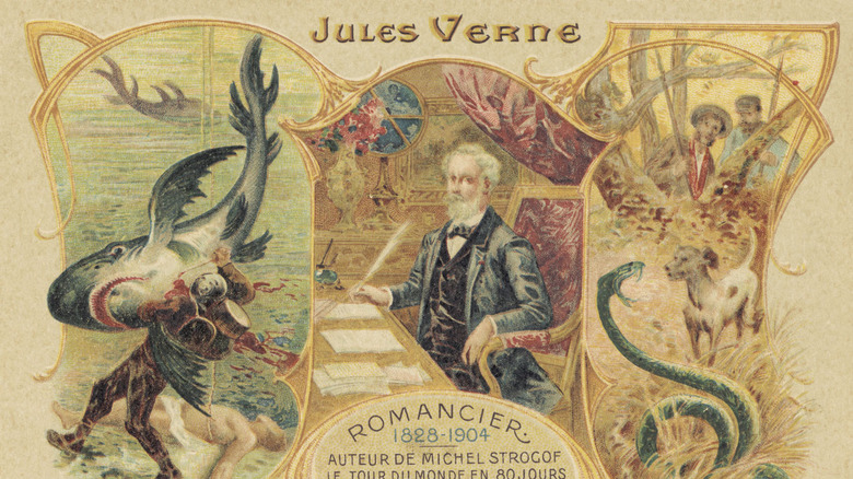Illustration of Jules Verne and his stories