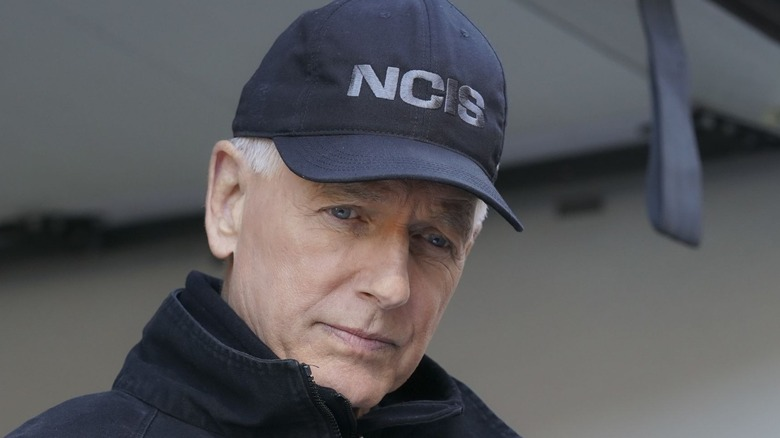 Mark Harmon wears NCIS hat