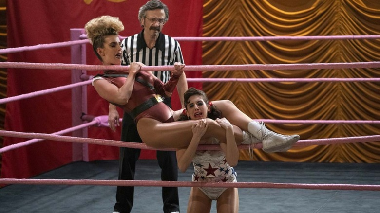 Marc Maron as Sam Sylvia, Alison Brie as Ruth Wilder, and Betty Gilpin as Debbie Eagan on GLOW