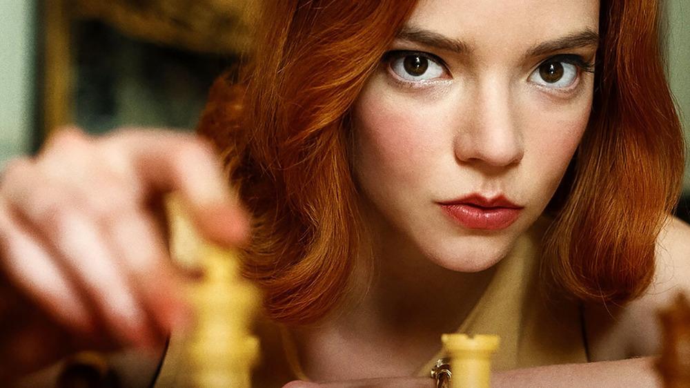 Anya Taylor-Joy as Beth Harmon playing chess