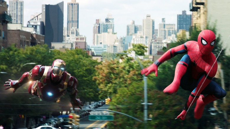 Spider-Man and Iron Man in Spider-Man: Homecoming