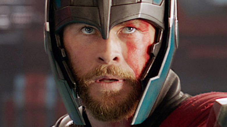 Chris Hemsworth in a helmet in Thor: Ragnarok