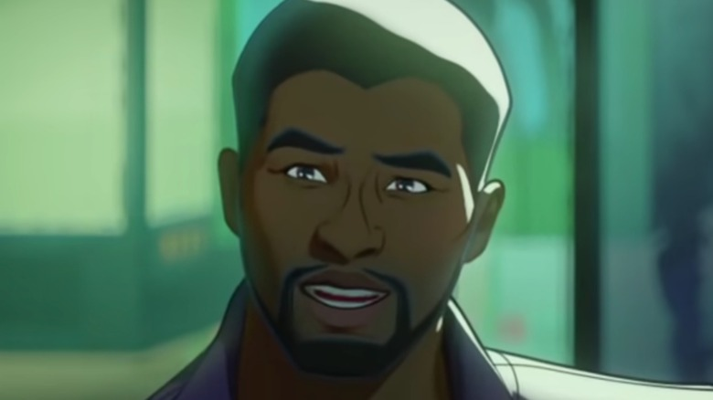 T'Challa as Star-Lord, smiling