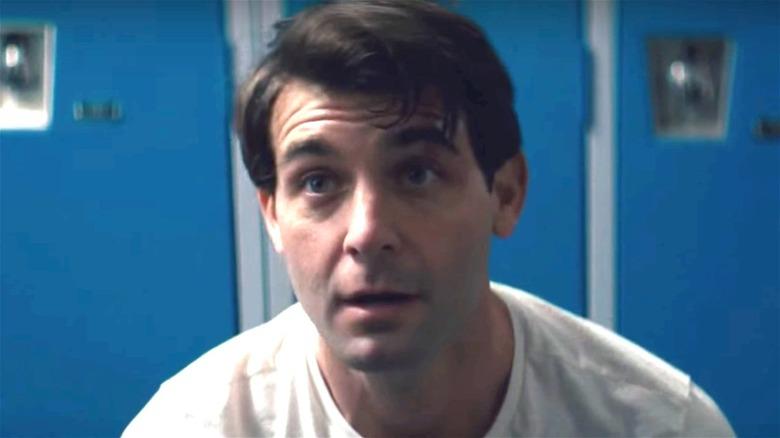 James Wolk in a locker room