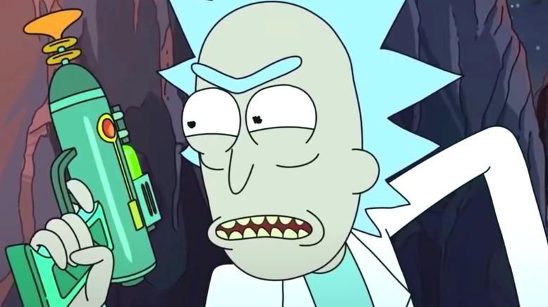 Rick Sanchez holding laser gun