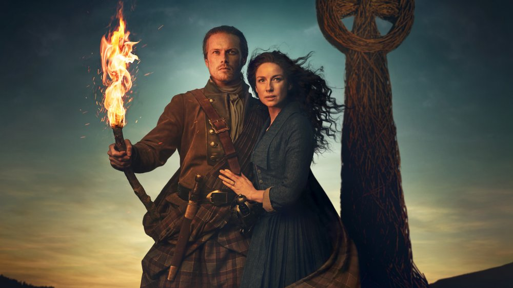 Sam Heughan and Caitriona Balfe as Jamie and Claire on Outlander