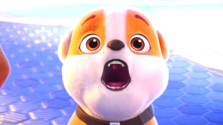 Rubble looking shocked in PAW Patrol: The Movie