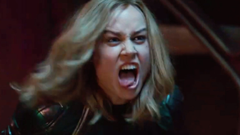 Captain Marvel Brie Larson yelling