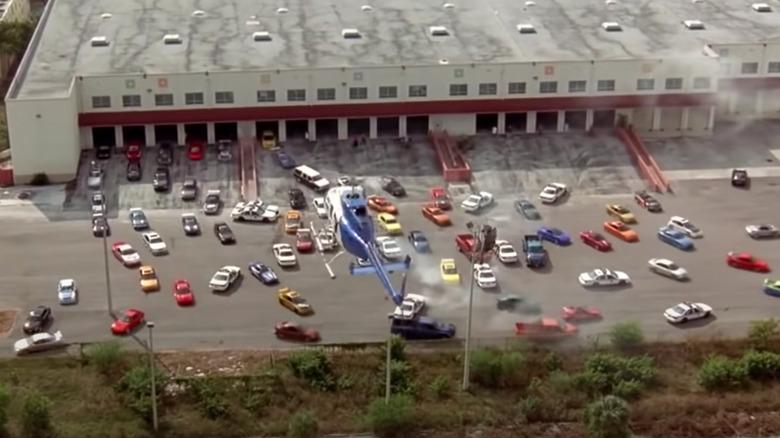 Dozens of cars driving